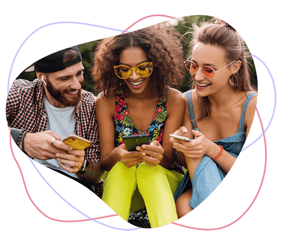 three friends smiling talking and supporting each other and enjoying and sharing a new period tracker apps info